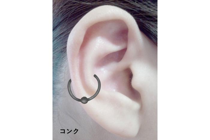 おしゃれなピアスの位置・耳の中央の平たい部分のコング