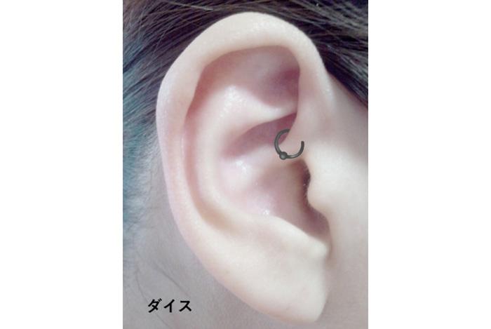 ピアスの位置と名前・ダイス(耳一番内側の軟骨の部分)