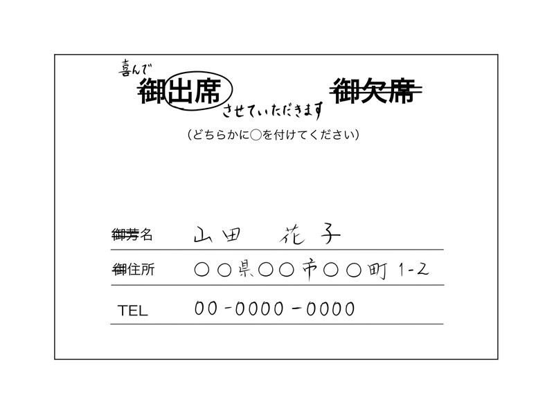 結婚式の招待状の返信例 裏